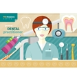 Dentist in uniform with instrument on workplace vector image vector image