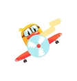 Duckling Pilot Cute Character Sticker vector image