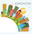 edmonton city skyline with color buildings blue vector image vector image