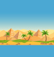egyptian pyramids with palms in desert landscape vector image vector image