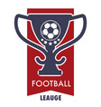 football league logo with victory cup and soccer vector image