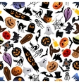 Halloween cartoon seamless pattern background vector image