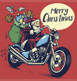 hand drawing style of santa claus ride a chopper vector image vector image