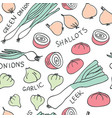 hand drawn doodle vegetables seamless pattern vector image