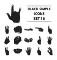 hand gestures set icons in black style big vector image