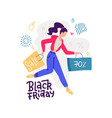 happy cartoon girl running with shopping bag vector image vector image