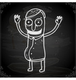 Happy Man Drawing on Chalk Board vector image vector image