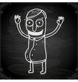Happy Man Drawing on Chalk Board vector image vector image