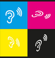 human anatomy ear sign with soundwave vector image vector image