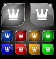 King Crown icon sign Set of ten colorful buttons vector image vector image
