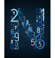 Letter N font from numbers vector image vector image