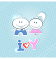 Little boy and girl on a blue background vector image vector image