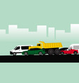 many different cars are in traffic jam vector image