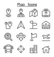 map icon in thin line style vector image vector image
