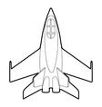 Military jet icon outline style vector image