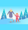 mother and kid walking in winter park landscape vector image vector image