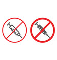 no drugs line and glyph icon prohibited and vector image vector image