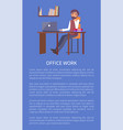 office work banner text sample and man workplace vector image vector image