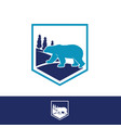 on shield forest simple bear logo design vector image vector image