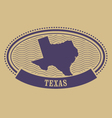 Oval stamp with Texas map contour vector image