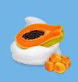 papaya in yogurt or whipped cream tropical fruit vector image