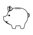 piggy money saving cartoon in black and white vector image vector image