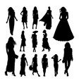 pretty woman silhouettes vector image