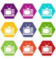 retro tv icon set color hexahedron vector image vector image
