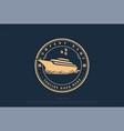 retro vintage yacht ship boat badge emblem logo vector image vector image