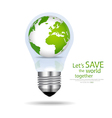 Save the world Light bulb with globe inside vector image vector image