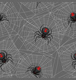 seamless pattern with black widow spiders vector image vector image