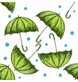 seamless pattern with green hand drawn umbrellas vector image vector image
