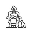 senior woman with pets - line design single vector image