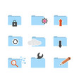 set of folder computing icon vector image vector image