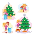 Set of icons little girl opening Christmas vector image