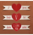 Set of Valentines Day Heart Labels with Ribbons vector image vector image
