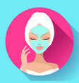spa woman applying facial cleansing mask beauty vector image