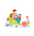 teacher and preschool children read book together vector image