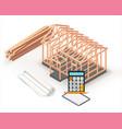 timber frame house base construction design vector image