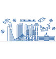 usa texas dallas winter city skyline merry vector image vector image