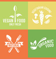 vegetarian food and organic products logo vector image