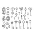 vintage locks and keys sketch keyhole victorian vector image vector image