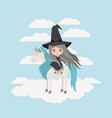 witch with unicorn in the clouds vector image vector image