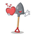 with heart shovel character cartoon style vector image vector image