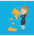 woman shaking out bitcoin coins from briefcase vector image vector image