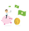 young business man holding phone and ride pink vector image vector image