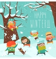 Funny kids playing snowball fight vector image