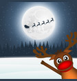 reindeer waving his paw in the forest of santa vector image