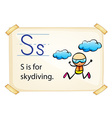 A letter S for skydiving vector image vector image