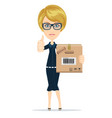 a young beautiful caucasian woman holding a box in vector image vector image
